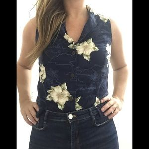 Vintage Caribbean Joe blue Hawaiian sleeveless top